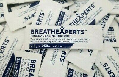 BreatheXperts Rinse & Relieve Mineral Saline Mixture 200 Packets Exp 03/20+