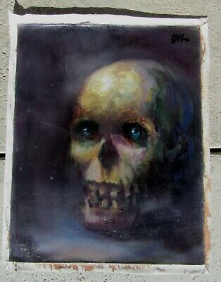 Cool Unusual Vintage Still Life Signed Oil Painting Skull Supernatural