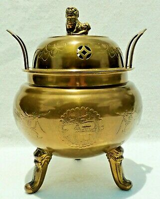 "Large Antique/Vtg Chinese 12"" Figural Foo Dog Dragon Solid Brass Incense Burner"
