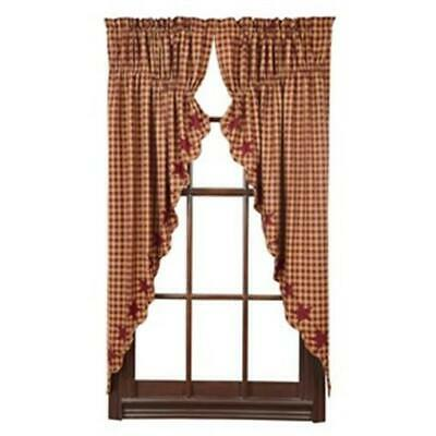 VHC Brands Burgundy Star Scalloped Prairie Curtain Set of 2. 63 x 36 x 18 in.