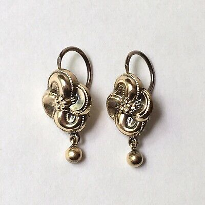 Antique Victorian Love Knot Earrings Lever Back Gold Wash / Silver Gilt
