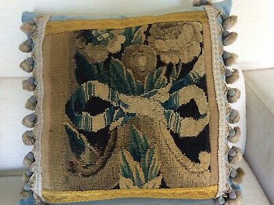 Antique 18th century Aubusson tapestry cushion with flowers and bow