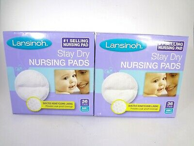 Lansinoh Stay Dry Nursing Pads 2 PACK (36 each) 72 Total 12-A