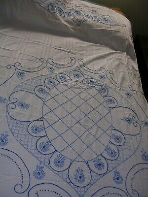 #R Antique Cotton Quilt top Coverlet Bedspread Hand Embroidered BLUE FLOWERS