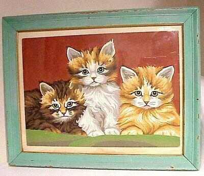 ADORABLE!! VINTAGE FRAMED 1950's (3) LITTLE KITTENS PAINT BY NUMBER PAINTING
