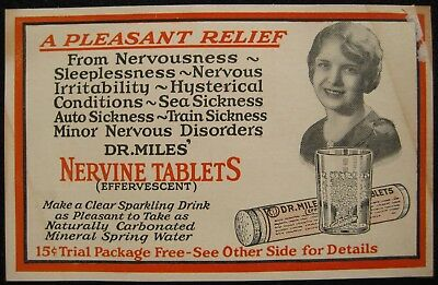 Dr. Miles Medical Co. Quack Medicine Nervine Tablets Promo Elkhart IN Postcard