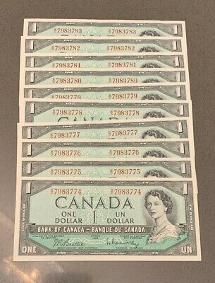 10 Consecutive 1954 W/O Bank of Canada $1's, all notes are Choice Unc or better!