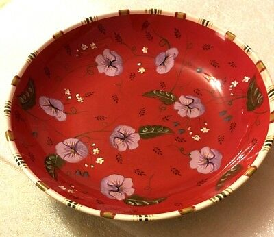 Living Art Ophelia Serving Plate Bowl Dish Large Red Floral Rare NWT