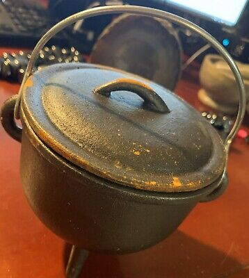 "Cast Iron WITCHES CAULDRON 6"" w/ LID Wicca Pagan Witchcraft Coven Herb Potion"