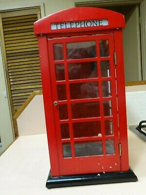 Metal RED TELEPHONE BOX.Authentic Reproduction.With wall brackets.36 cm high.