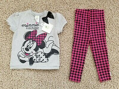 ff81c668a32b8 NWT DISNEY BABY MINNIE MOUSE BOW TOP LEGGING SET Outfit Toddler Girl SIZE  24M/2T