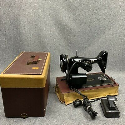 Vintage Singer Sewing Machine 99K With Case & Pedal Working