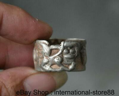 4CM Old Chinese Miao Silver Dynasty Palace Beautiful Woman People Finger Rings