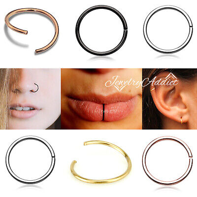 6-8-10mm Nose Lip Ear Ring Hoop Twist Bend Steel Sleeper Earring Body Piercing