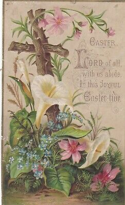 Antique 1800s Lovely Religious Easter Flowers & Cross Holiday Greeting Card.*