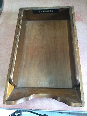 Vintage timber tray with removable oak wood inwards tray.