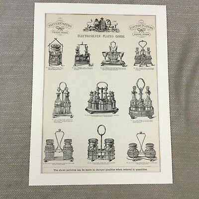 1880 Silver Cruets Sets Sales Advertisement Victorian Original Antique Print