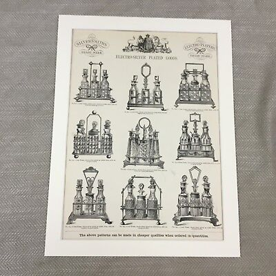1880 Original Victorian Advertisement Silver Cruet Set Patterns Antique Print