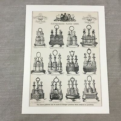 1880 Silver Plate Cruet Sets Factory Pattern Guide Large Original Antique Print