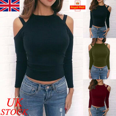 Womens Fit Slim Cold Shoulder Blouse Long Sleeve T Shirts Ladies Casual Crop Top