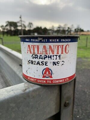 Atlantic Oil 1 Pound Grease Tin Atlantic Oil Company Nice Logo Rare Tin