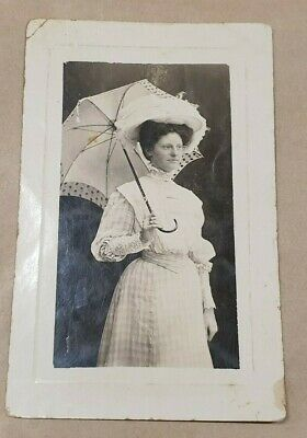 Empire Photo Postcard Of Woman With Parasol Umbrella Dated 30Th December 1908