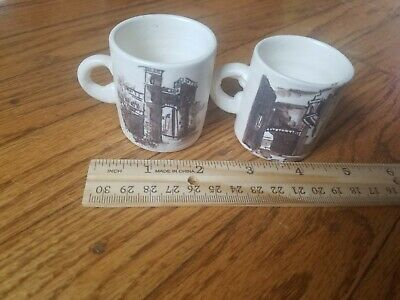 Lot of two Vintage Antique hand painted mini mugs