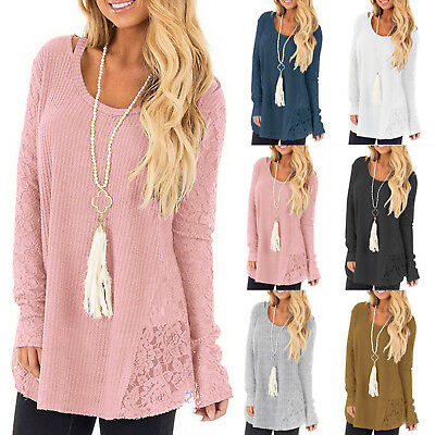 Plus Size Womens Winter Knitted Lace Long Sleeve Jumper Sweater Casual Loose Top