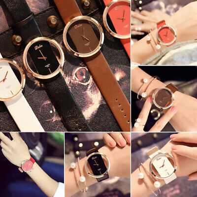 Popular Girl Women Classic Casual Quartz Watch Leather Strap Wrist Watches Gift