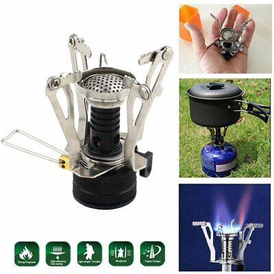 Portable Camping Gas Stove Backpacking Picnic Butane Propane Canister Burner BT