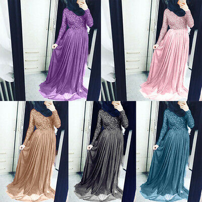 Women Prom Ladies Party Long Dress Elegant Evening Tulle Long sleeve Solid color