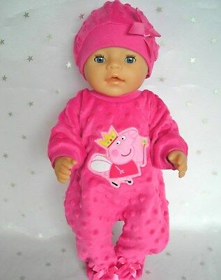 """Dolls clothes for 17"""" Baby Born  doll~PEPPA PIG HOT PINK BOBBLE JUMPSUIT~HAT"""