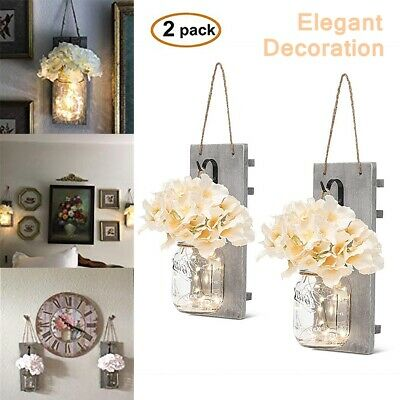 Elegant Rustic Wall Sconces - Mason Jars Sconce, Rustic Home Decor, (Set of 2)