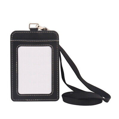 Leather ID Badge Card Holder Lanyard Strap Clip Card Case Business Organizer Bag