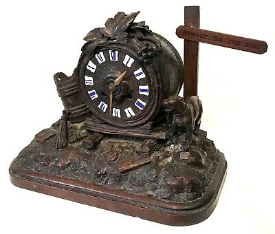 Antique Carved Black Forest Clock Featuring A Barrel Beware The Dog Sign
