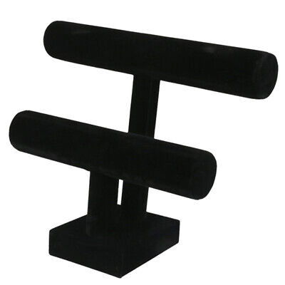 2-Tier Bangle Bracelet Display Holder T-Bar Stand Black N9E9