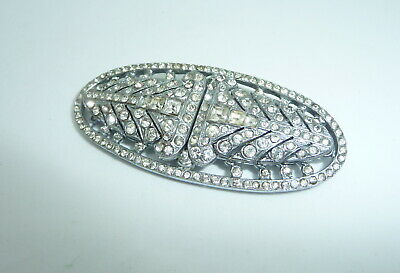 Unusual Vintage Art Deco Paste Rhinestone Crystal Dress Clips 2 Brooch Duette