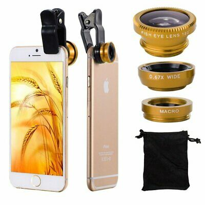 3in1 Fish Eye Wide Angle Macro Lens Camera Clip Lens Kit For iPhone Samsung Gold