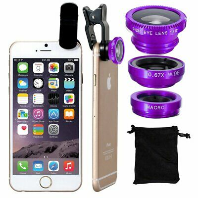 For Mobile Phone Fish Eye Wide Angle Macro Lens Camera Lens 3 in 1 Kit Clip-on