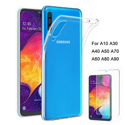 For Samsung Galaxy A50 A40 A70 A20e Case Clear Slim Gel Cover & Tempered Glass