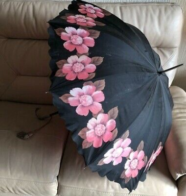 Antique Parasol Umbrella 1920s 1930s Vintage Nylon Silk French Floral Black Pink