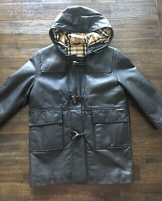 Unisex Burberry Leather Long Coat For Kids  Size 4-5 Used Very Good Condition
