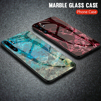 Luxury Hybrid Marble Tempered Glass Phone Case Cover For Honor V20 10 Huawei P30