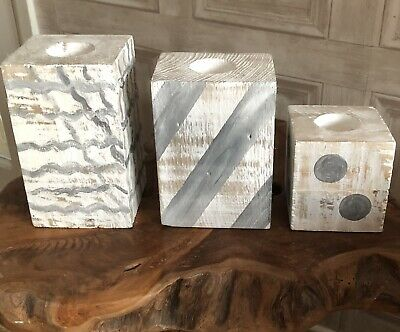 3pc Reclaimed Wooden T Light Candle Holders  Shabby Chic Home Decor.