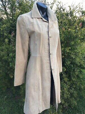 Genuine Suede Leather Coat Natural Tan Beige Sz 10 Long Tailored Jacket Overcoat