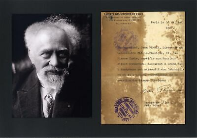 Jean Baptiste Perrin NOBEL PRIZE autograph, document signed