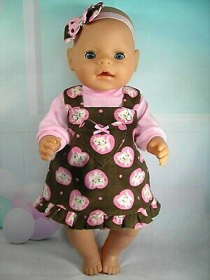 """Dolls clothes for 17"""" Baby Born~Cabbage Patch Doll~CAT~KITTEN~HEART PINAFORE"""
