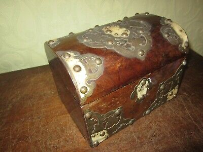 An antique brass bound tea caddy for restoration