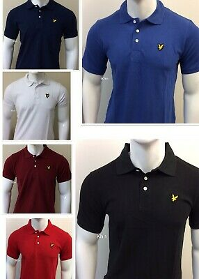 Plain Collar Lyle And Scott Three Button Short Sleeve Polo Shirt Comfortable