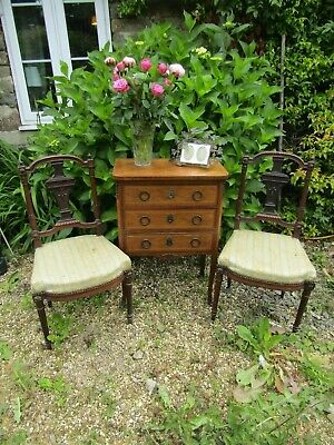 Super Pair Antique French Solid Rosewood Carved Chairs